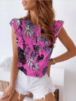 Γυναικείο πουκάμισο φλοράλ 2466 φούξια