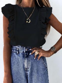 Γυναικεία μπλούζα με βολάν 2154 μαύρη