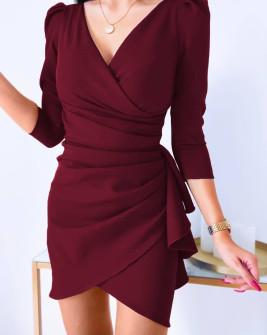 Γυναικείο εντυπωσιακο φόρεμα 8293 μπορντό