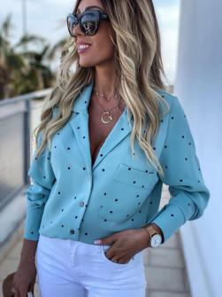 Γυναικείο πουκάμισο πουά 5242 γαλάζιο