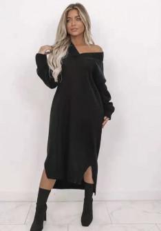 Πλεκτό μακρύ φόρεμα 00807 μαύρο