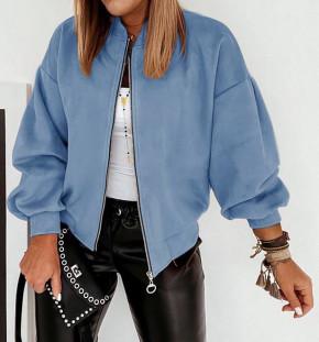 Γυναικείο σουέτ μπουφάν με φερμουάρ 5283 γαλάζιο