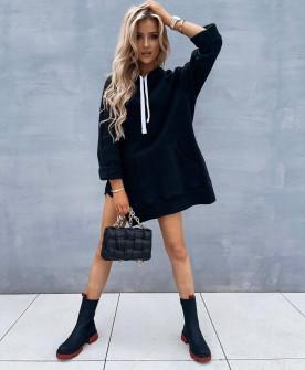 Γυναικείο μπλουζοφόρεμα με κουκούλα 4780 μαύρο