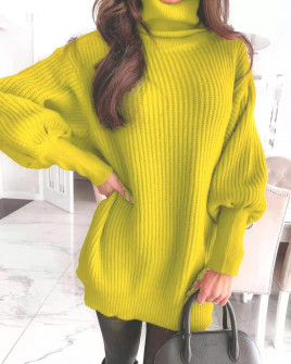Πλεκτό μπλουζοφόρεμα 8900 κίτρινο