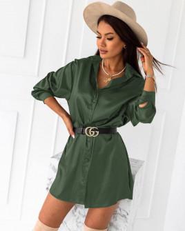 Γυναικείο σατέν πουκάμισο 6025 σκούρο πράσινο