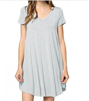 Дамска свободна рокля 13520 сива