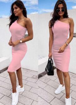 Γυναικείο έξωμο φόρεμα 5124 ροζ