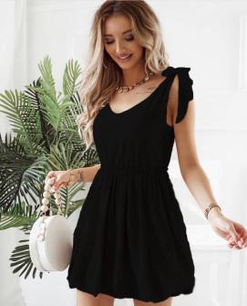 Γυναικείο φόρεμα με εντυπωσιακές τιράντες 8088 μαύρο