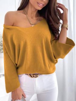 Γυναικεία χαλαρή μπλούζα 00702 μουσταρδί