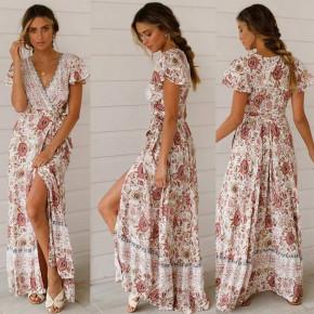 Γυναικείο φόρεμα κρουαζέ με έθνικ σχέδια 559907