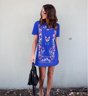 Γυναικείο φόρεμα με σχέδια 5064 μπλε