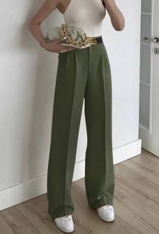 Γυναικείο φαρδύ παντελόνι με ζώνη 5508 σκούρο πράσινο