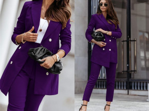 Γυναικείο σετ παντελόνι και σακάκι με φόδρα 5358 μωβ