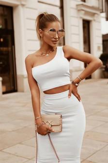Γυναικείο σετ τοπάκι και φούστα 5731 άσπρο