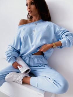 Γυναικείο μονόχρωμο σετ 61070 γαλάζιο