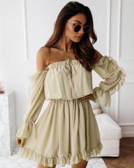 Γυναικείο έξωμο φόρεμα 3740 μπεζ