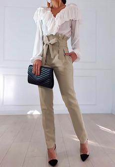 Γυναικείο ψηλόμεσο παντελόνι 19176 μπεζ