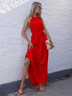 Γυναικείο μακρύ φόρεμα με ζώνη 5814 κόκκινο