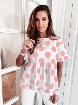 Γυναικεία μπλούζα πουά 21193 ροζ
