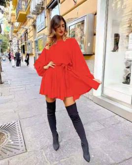 Γυναικείο χαλαρό φόρεμα 3469 κόκκινο