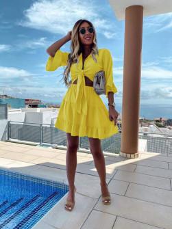 Γυναικείο σετ μπλούζα και φούστα 5104 κίτρινο