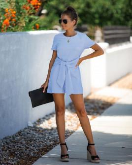 Γυναικεία ολόσωμη φόρμα με ζώνη κορδέλα 5085 γαλάζια
