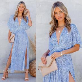 Γυναικείο φόρεμα με σκίσιμο 3340 γαλάζιο