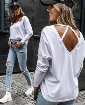 Γυναικεία μπλούζα με χιαστή πλάτη 4852 άσπρο