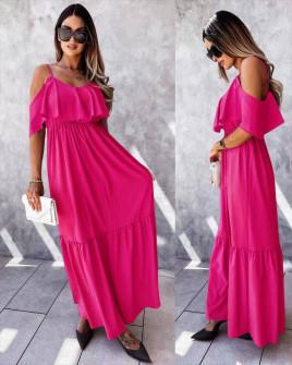 Γυναικείο μακρύ φόρεμα 5701 φούξια