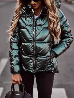 Γυναικείο μπουφάν με κουκούλα MF2103 πράσινο