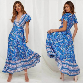 Γυναικείο φόρεμα κρουαζέ με έθνικ σχέδια 559902