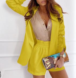 Γυναικείο σετ σακάκι και παντελόνι 5045 κίτρινο