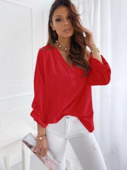 Γυναικείο χαλαρό πουκάμισο 5019 κόκκινο
