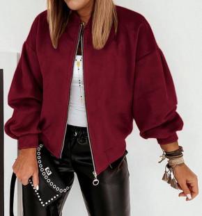 Γυναικείο σουέτ μπουφάν με φερμουάρ 5283 μπορντό