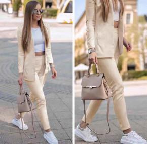 Γυναικείο σετ σακάκι και παντελόνι 5007 μπεζ