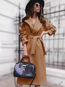 Γυναικείο παλτό με φόδρα και ζώνη 5979 καμηλό