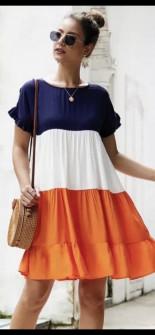 Дамска трицветна рокля с къс ръкав 3382 оранжева