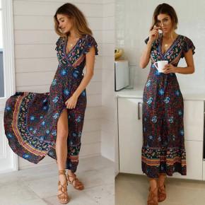 Γυναικείο φόρεμα κρουαζέ με έθνικ σχέδια 559903