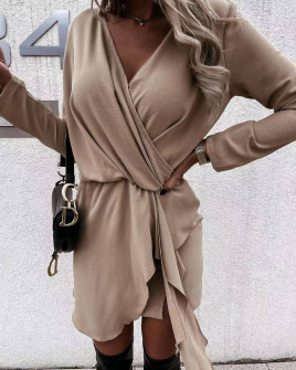 Γυναικείο κομψό φόρεμα 5987  μπεζ