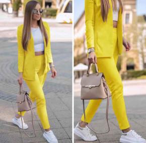 Γυναικείο σετ σακάκι και παντελόνι 5007 κίτρινο