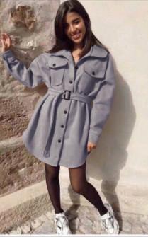 Γυναικείο παλτό βελουτέ 5322  γκρι