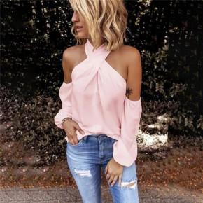 Γυναικεία μπλούζα με εντυπωσιακό ντεκολτέ 3163 ροζ