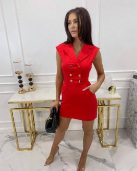 Γυναικείο φόρεμα με κουμπιά από τις δύο πλευρές 3671 κόκκινο