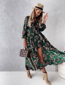 Γυναικείο φόρεμα με ασύμμετρο πίσω μέρος 56306 πράσινο
