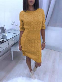 Γυναικείο πλεκτό φόρεμα 1028  μουσταρδί