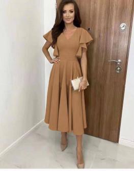 Γυναικείο φόρεμα μίντι 8059 καμηλό