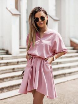 Γυναικείο χαλαρό φόρεμα με ζώνη 5889 ροζ