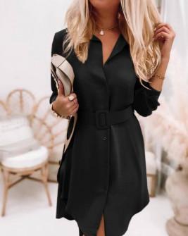 Γυναικείο φόρεμα με ζώνη 5961 μαύρο