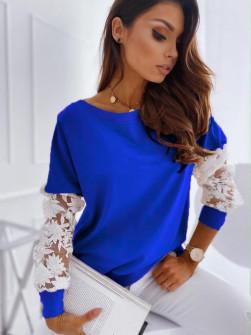 Γυναικεία μπλούζα με δαντέλα 19636 μπλε