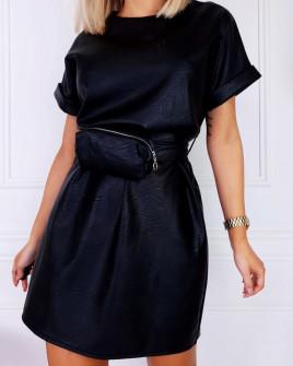 Γυναικείο φόρεμα δερματίνης με τσαντάκι H0945 μαύρη
